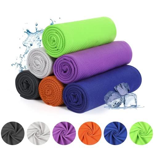 YOOFOSS Asciugamano Raffreddamento 6 Pezzi Asciugamani Microfibra Asciugatura Sportivo Rapida Gym Sciarpa Ghiaccio Towel per Golf Campeggio Corsa Yoga