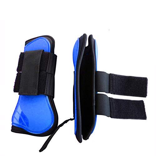 LEBEE Ghette Stinchiere Equitazione 2Pcs Set di Protezioni per Gambe per Salto con Gli Tendine per Sport Equestri E Set di Stivali con Lucchetto,Blue-M