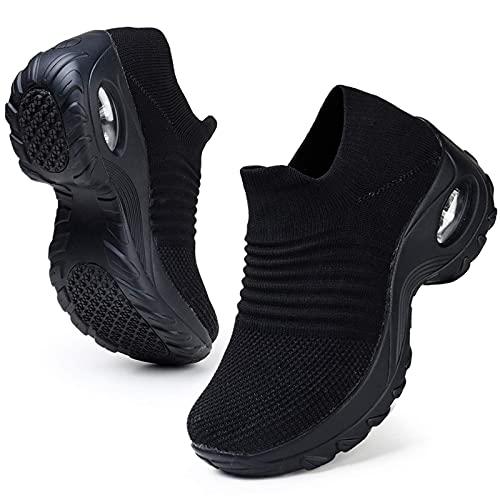 HKR Platform Sneakers Donna Leggero Air Cuscino Scarpe da Ginnastica Running Infermiere Lavoro Leggero Tennis per Camminata Senza Lacci Nero 36 EU