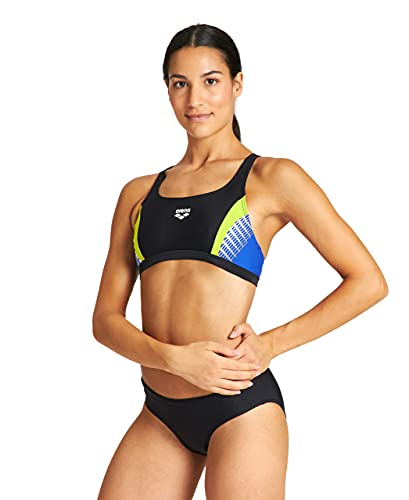 ARENA Threefold Bikini Sportivo, Black-Neon Blue-Soft Green/Nero, 46
