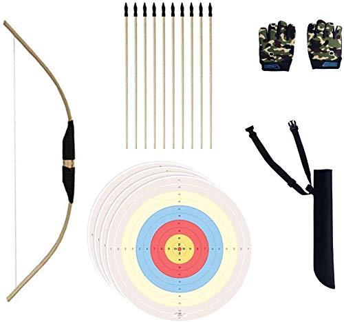 Set completo di arco, realizzato a mano, in bambù, per bambini e principianti, arco e freccia in legno, 10 pezzi con punta in gomma di sicurezza, guanti, fogli di bersaglio per giochi interni esterni
