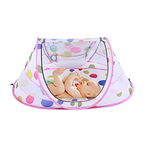 STLOVe Lettino da Campeggio Tenda da Sole Pop Up Tent Zanzariera per Culle Cappottina Regolabile Materasso(Anti-perdite) Facile da Montare Pieghevole Portatile da Interno e Esterno giallo rosa