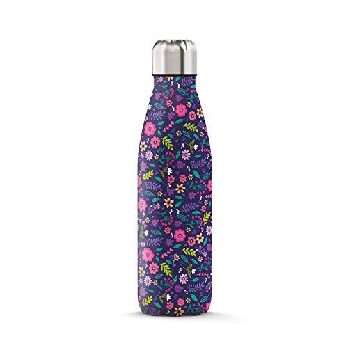 THE STEEL BOTTLE - Bottiglia Termica in Acciaio Inox, Isolamento sottovuoto a Doppia Parete, capacità 500 ml, Chiusura Ermetica, Borraccia Portatile (Art#5 Cartoon Flowers)