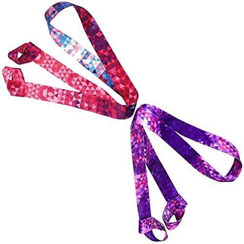 Porta Tappetino Yoga Tracolla Cinghia Tappetino Borsa Yoga in Cotone, Cinghia Cintura Yoga per Custodia Tappetino Yoga Regolabile, Confezione da 2, Viola, Rosa