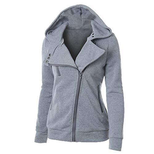Genmoral Oblique - Felpa da donna con zip e tasca - grigio - Large