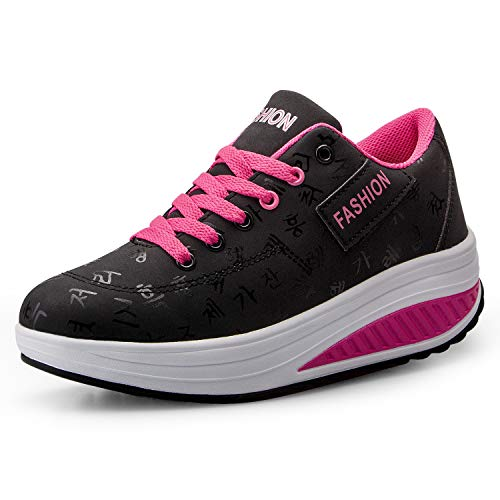 Donne Sneaker Dimagrante Scarpe Passeggio & Scarpe Ginnastica Fitness Cunei Piattaforma Scarpe(38,Nero