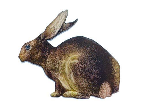 Miniblings Coniglio Spilla Stampato Animale in Legno della Foresta della Fauna Selvatica di Caccia - Gioielli Fatto a Mano Ho Pin Pin Button