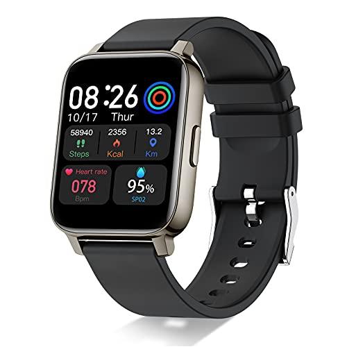 Smartwatch, 1,69' Full Touch Orologio Fitness Uomo Donna Impermeabile IP68 Smart Watch Cardiofrequenzimetro da Polso, Fitness Tracker Controllo Musica Notifiche Messaggi Contapassi Cronometro Nero