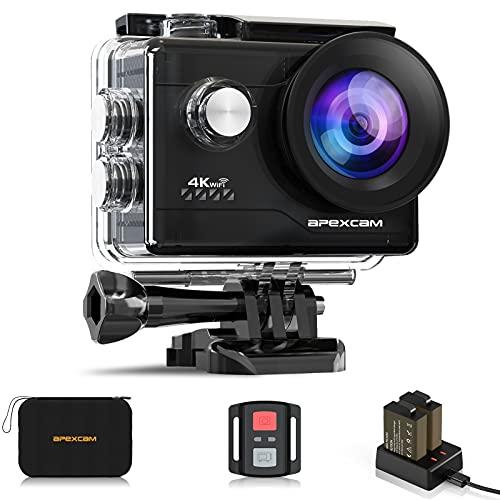 Apexcam 4K WiFi 20MP Action Cam Ultra HD Sports Cam Impermeabile Sott'acqua 40M 2'' Action Camera 2.4G Telecomando 170° Grandangolare con 2x1050mAh Batterie e Kits di Accessori