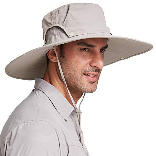 Gisdanchz Cappello Trekking Uomo Tesa Larga,Cappello Sole Anti UV Caccia Pesca Canottaggio Cappello Pescatore Impermeabile Uomo Cappello Safari Militare Cappello Estivo Traspirante,Cachi