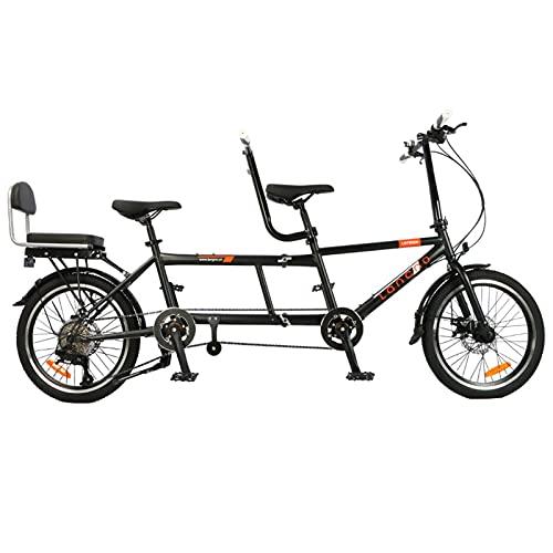 Bicicletta In Tandem, Pieghevole Ruota Tandem Bicicletta Alta Acciaio Al Carbonio A 3 Posti Per Famiglia, Bici Tandem Portatile, Per Famiglie, 8 Marce