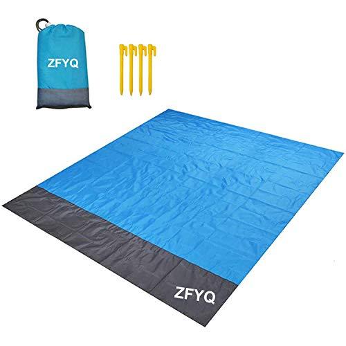 ZFYQ Coperta da Spiaggia, 200 x 210 cm Anti Sabbia Portatile Coperta da Picnic con 4 Picchetti Fixed per Picnic, Spiaggia, Viaggi, Escursionismo, Campeggio e Altro.