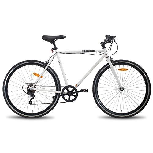 Hiland Bicicletta da città ibrida urban a pendolo per uomo, 700C, con velocità singola, colore bianco, 580 mm