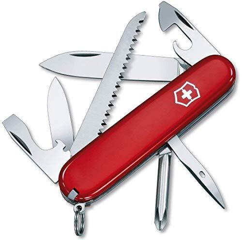 Victorinox, Hiker, coltellino tascabile (13 funzioni, seghetto per legno, cacciavite Phillips, stuzzicadenti) colore rosso