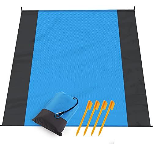 Coperta da Spiaggia Impermeabile Antisabbia di 200 x 210cm, Telo da Mare Pieghevole Portabile in Borsa con Picchetti Fixed e Moschettone, per Picnic Escursionismo Campeggio (blu)