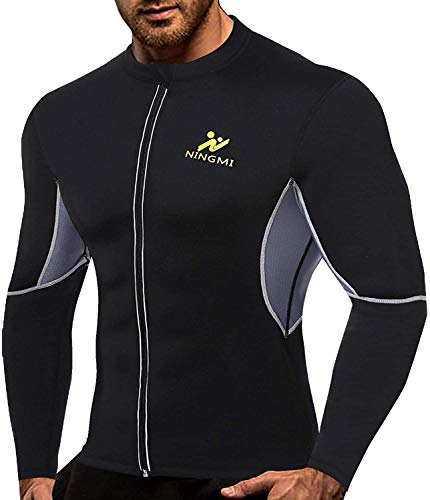 NINGMI Tuta Sauna per Uomo Manica Lunga Camicia da Allenamento con Cerniera Giacca Neoprene Sauna Suit Corpo per Addominale Dimagrante