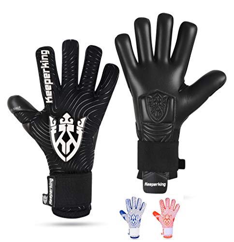 Keeperking Guanti da portiere per adulti, guanti da calcio da uomo, con cuciture interne professionali, 4 mm, vestibilità solida, unisex Jonior (8, nero)