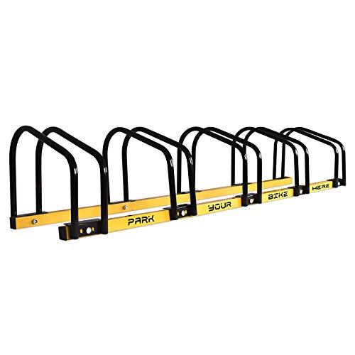 Rastrelliera Cavalletto Fermabici Modulare 5 in 1 in Acciaio Antiruggine con meccanismo di fissaggio al suolo ideale per parcheggiare fino a 5 biciclette in parco, strade private o garage.