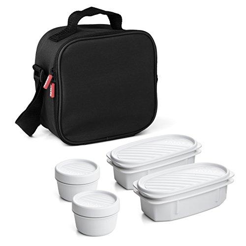 Tatay Urban Food Casual, Borsa Termica Porta Pranzo, 3L Capacità, con 4 Contenitori Alimentari, 2 x 0.5 L, 2 x 0.2 L, senza BPA, Nero, 22.5 x 10 x 22 cm