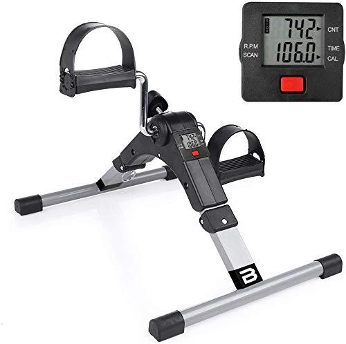 BOUDECH Cyclette biciclo Mini pedaliera Pieghevole per Riabilitazione Muscolare Braccia e Gambe (Pedaliera con Display LCD)