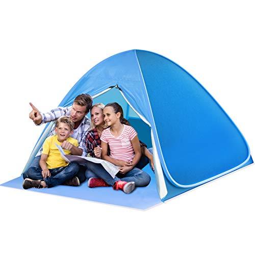 SAEYON L Tenda da Spiaggia, Tenda Spiaggia Pop-up con Sipario Cerniera, Protezione Solare UPF 50+ Beach Tent, Tenda Spiaggia Portatile per 2-3 Persone per Viaggi Campeggio Trekking Pesca Giardino, Blu