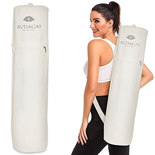 RUDACAS Borsa per tappetino da yoga, borsa per il trasporto, borsa premium con tasca con cerniera, tinta unita.