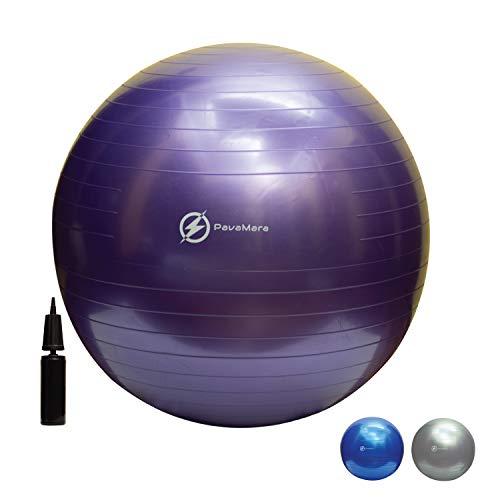 PavaMara fitball 55/65/75cm - Palla Fitness Pilates- Palla da Ginnastica in Palestra casa - Fisioterapia Schiena (Viola, 55 cm)