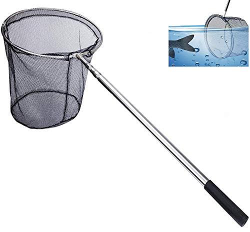 Xndryan - Retino da pesca telescopica da 180 cm, per pesca alla carpa, alla trota, in acciaio inox, con manico lungo, per laghetti