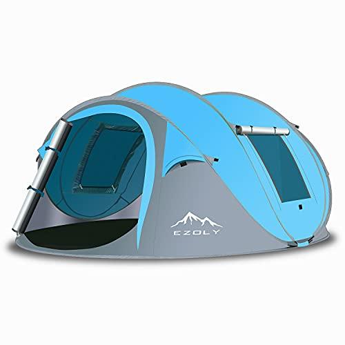 EZOLY, Tenda Pop-up per 3-4 Persone, Tenda Automatica per 2 Secondi di Installazione, Impermeabile, Antivento, Anti-UV, Tenda da Campeggio per Famiglia(Blu)