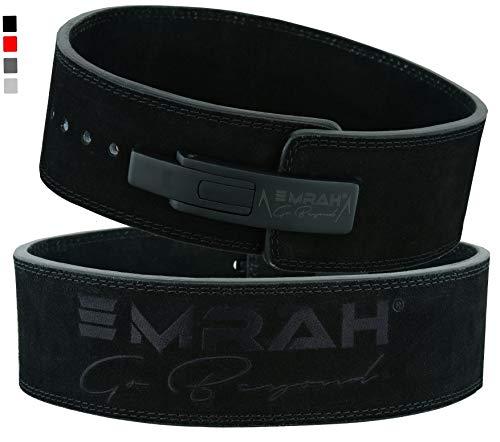 EMRAH PRO Buff Hide Leather Powerlifting Lever Fibbia Gym Workout Fitness Cintura per Sollevamento Pesi per Uomini e Donne   Bene Confortevole (Nero Opaco, Grande)