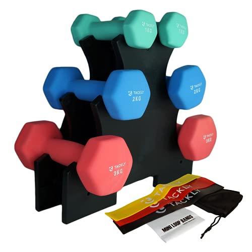 Tackly Set Manubri Palestra in Casa con Elastico Fitness - Kit pesetti in neoprene fitness 1 , 2 y 3 kg con bande elastiche - Atrezzi pesi palestra formazione donna/uomo
