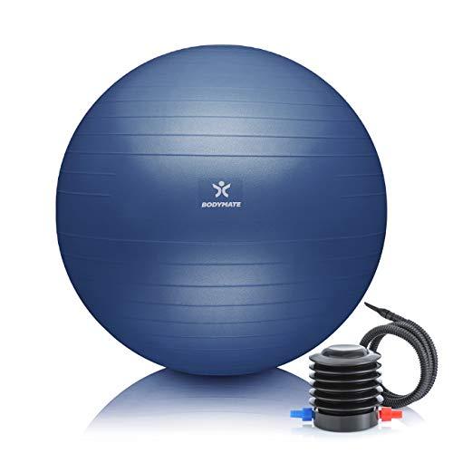 BODYMATE Palla da Ginnastica, Fitness, Yoga, Core Training con E-Book Gratuito e Pompa