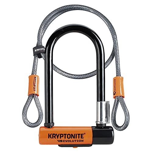 Kryptonite U-Locks, Blocco Disco Evolution 7 con Cavo Flessibile e Staffa Flexframe Unisex – Adulto, Arancione, 8.3 X 17.8