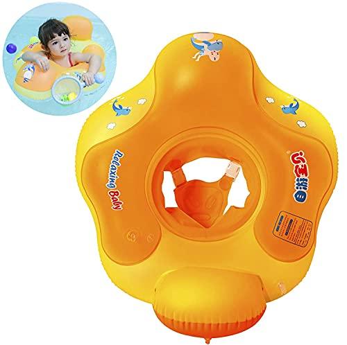Myir Salvagente Bambini con Mutandina, Anello di Nuoto per Bambino Salvagente Bebè per Piscina Galleggiante Gonfiabile Doppio Airbag (Arancio, S)