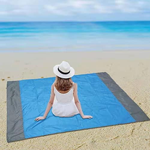 Coperta da Spiaggia,telo mare antisabbia,200 x 210 cm Portatile Impermeabile Tascabile Coperta da Picnic con 4 Picchetti Fixed per Picnic, Spiaggia,Escursionismo,Campeggio e Altro (Blu)