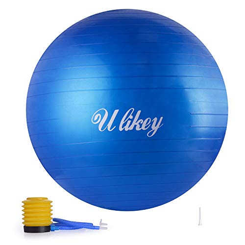 Ulikey Palla da Ginnastica, Fitness Palla da Yoga Sopportare Fino a 200 kg Anti-Scoppio, Yoga Ball con Pompa per Pompa per Fitness, Yoga, 65cm (Blu)