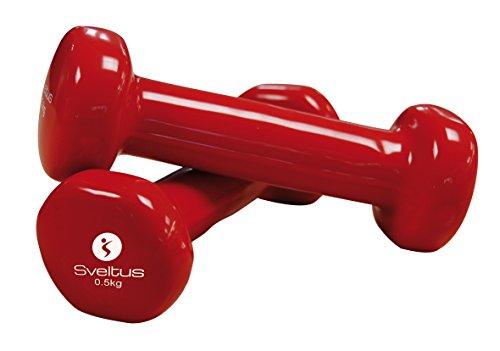 Sveltus-Set di 2 manubri da 500 g, Colore: Rosso