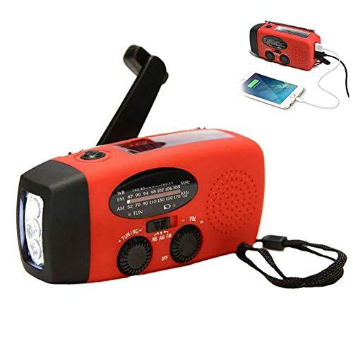 SayHia - Torcia solare di emergenza, con funzione dinamo e manovella, con radio FM e 3 LED