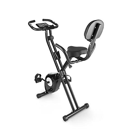 bigzzia Cyclette, Fitness Bike con sensore del polso / resistenza/display LCD / schienale, pieghevole, per uso domestico, fino a 100 kg, per casa, atleti e anziani