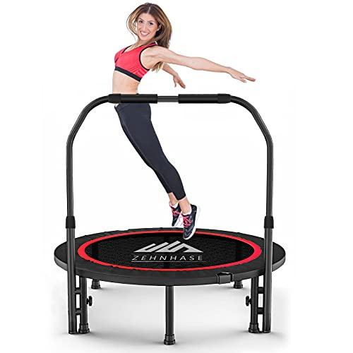LIVHOOU Trampolino Elastico Fitness adulto, Tappeto pieghevole Ø101cm Trampolini salta per Interno/Esterno/Giardino, carico 150 kg