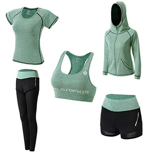 Abbigliamento Sportivo da Donna, T-Shirt 5set Suit per Sport Yoga Ginnastica Sport Include Manica Lunga e Corta, Pantaloni, Reggiseno, Morbido e Traspirante Confortevole (Verde, L)