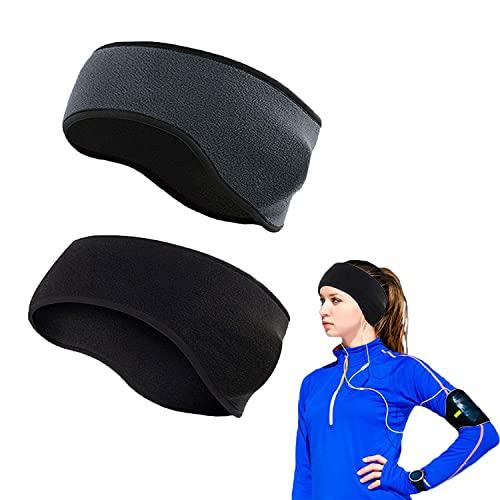 Fascia per gli sport invernali per donna e uomo ,Paraorecchie invernali,Paraorecchie, 2 fasce per lo sport calde adatte per fare jogging, escursioni e ciclismo. (Nero e grigio)