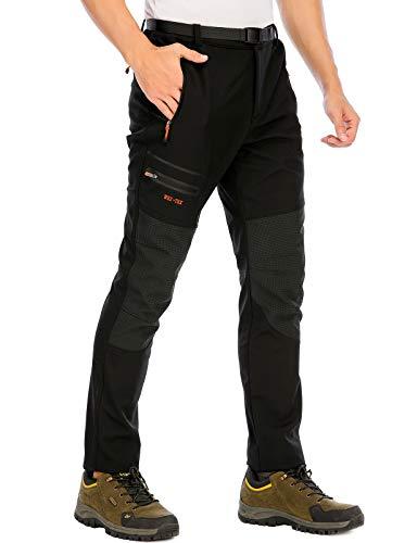 DAFENP Pantaloni Trekking Uomo Softshell Pantaloni Montagna Escursionismo Impermeabili Caldo Invernali All'aperto KZ1662M-Black2-M