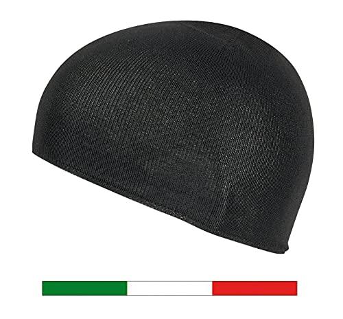 Kedra-T Calotta SOTTOCASCO Senza Cuciture in DRYARN - Made in Italy - Colore Nero Taglia Unica Uomo Donna Unisex Moto Outdoor Protezione Termica Leggera