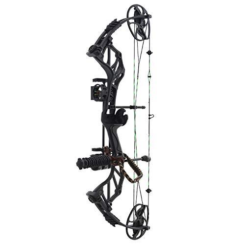 Hellbow Kit- Arco di Caccia di carrucole Compound Thorns, Regolabile da 19-31'/ 30-70 LBS. Arco Destro Nero con Corda Verde e Nera, ha Un mirino a 3 Pin, stabilizzatore e Supporto per Le frecce