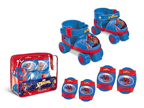 Mondo Toys - pattini a rotelle regolabili Spiderman Marvel per bambini - Taglia dal 22 al 29 - set completo di borsa trasparente, gomitiere e ginocchiere - 18390