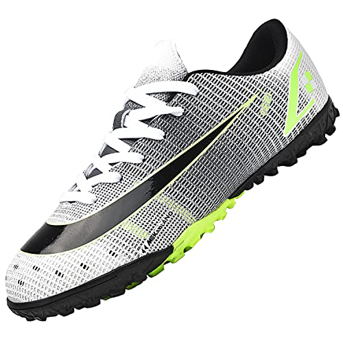 Dhinash Scarpe da Calcio Uomo Professionale Scarpe da Allenamento Scarpe da Calcetto Scarpe Sportive Bambini e Ragazzi Grigio 45EU