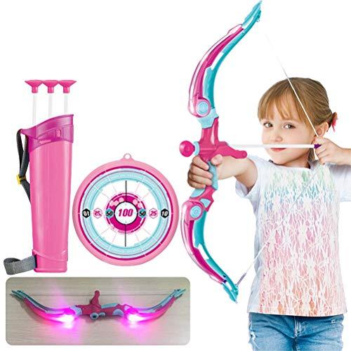 Hahepo Set per tiro ad arco per bambini, con supporto per freccia, ventosa e luci a LED, per bambini, per gioco da interni ed esterni