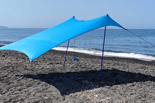 SHADYSAND – Grande tenda da spiaggia familiare anti UV (UPF 50+) fino a 5 persone, compatta e leggera e pratica, capanno da spiaggia
