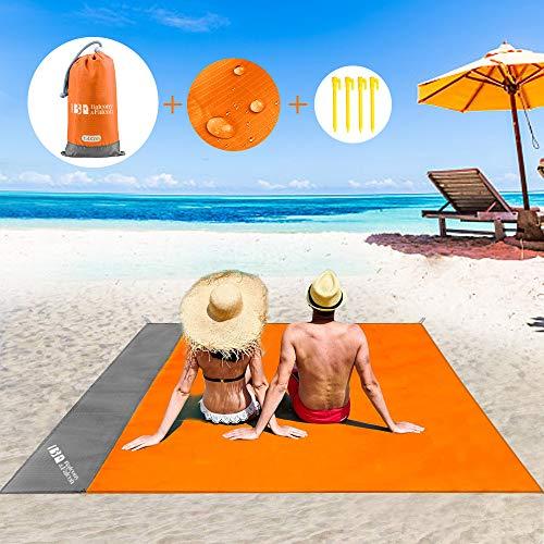 BALCONY&FALCON Telo Spiaggia Antisabbia, Telo da Mare Grande Coperta da Spiaggia Portatile Telo Spiaggia Impermeabile con i Picchetti da Fisso Multifunzionale Telo da Campeggio Mare Picnic 140 x 200cm